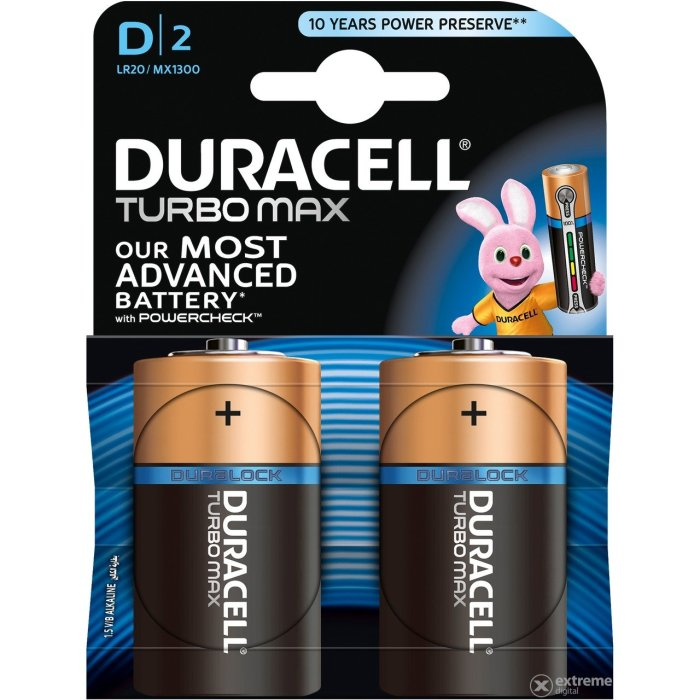 DURACELL TURBO MAX D; LR20; blister 2ks