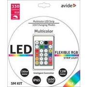 Avide LED pás 12V set 5m 7,2W SMD5050 30ks/m IP65 RGB+inteligent Ctrl