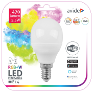 Avide LED žiarovka 5,5W E14 RGB+W SMART s WiFi