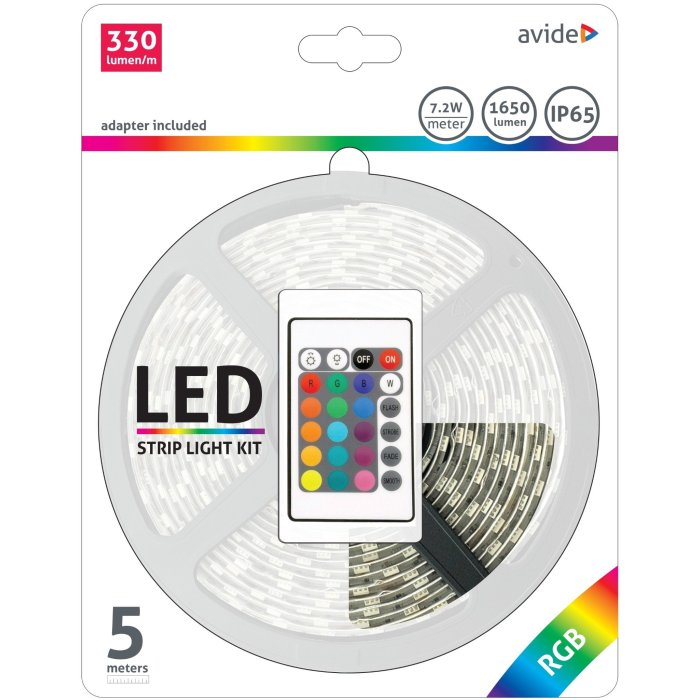 Avide LED Strip Blister 12V 7,2W RGB IP65 5m + Inteligent Ctrl